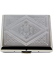RFID Blocking Victorian Style Classic Metallic Silver Color Double Sided King Cigarette Case Holder and Credit Card RFID Protective Security Wallet (Diamond)