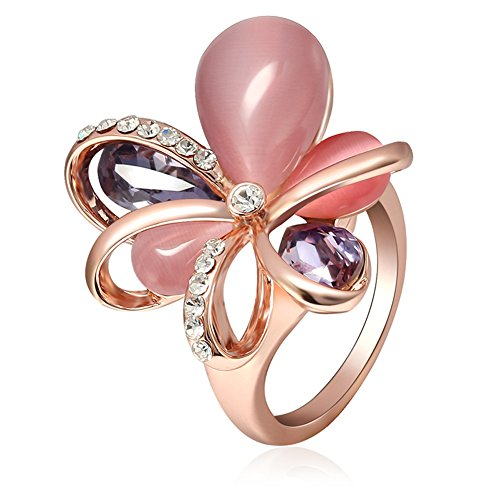 Everrich Fashion Pink Flower Rose Gold Plated Cubic Zirconia Band Rings Crystal Anniversary Opal Ring for Women -