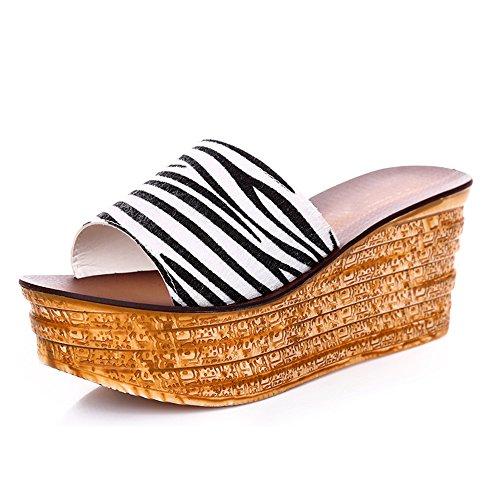 Donna Estate Dimensioni 2 Pantofole I Eu39 Scarpe Con cn39 Per Sandali 8cm Di Le 4 Mette Colori Pistoni colore Tallone Haizhen Da Dell'alto 4 Generi Donne uk6 zCwwtpq