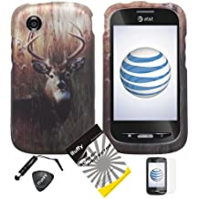 4 items Combo: ITUFFY LCD Screen Protector Film + Mini Stylus Pen + Case Opener + Outdoor Wild Deer Grass Camouflage Design Rubberized Snap on Hard Shell Cover Faceplate Skin Phone Case for At&t ZTE Avail Z990 (1st Generation only) / ZTE Merit 990G (Straight Talk , Net10)