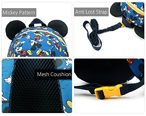 74bcad16d04d Disney Mickey Minnie Mouse Dome Small Backpack with a Removable Strap  Safety Harness to Prevent Children