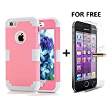 iPhone SE Case, NOKEA Hybrid Heavy Duty Shockproof Full-Body Protective Case with Free Tempered Glass Dual Layer [Hard PC+ Soft Silicone] Impact Protection for Apple iPhone 5S (Pink Grey)