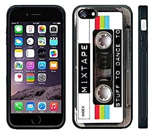 Apple iPhone 6 Black Rubber Silicone Case - Mixed Tape Cassette Retro Old School Music you can dance too by mcsharks