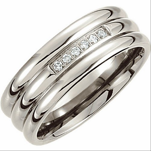 8mm Diamond Titanium Comfort Fit Grooved Ring Size 10 by The Men's Jewelry Store