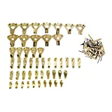 Gnognauq 120 Pcs Picture Hangers Gold Color Photo Picture Frame Hooks with Pin Nails for Wall Mounting (10lbs-100lbs)