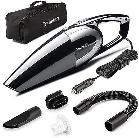 Tsumbay Aspirador de Coche 5000PA 120W, Portátil Aspiradora para Automóvil DC 12V, Limpiador de Seco y Mojado con 4.5m Cable, 2 Filtro HEPA Lavable y Otros Accesorios Complementario: Amazon.es: Coche y moto