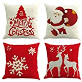 Ogrmar 4PCS 18x18 Christmas Throw Pillow Covers Fall Decorative Couch Pillow Cases Cotton Linen Autumn Pillow Square Cushion Cover for Sofa, Couch, Bed and Car (Christmas-B)