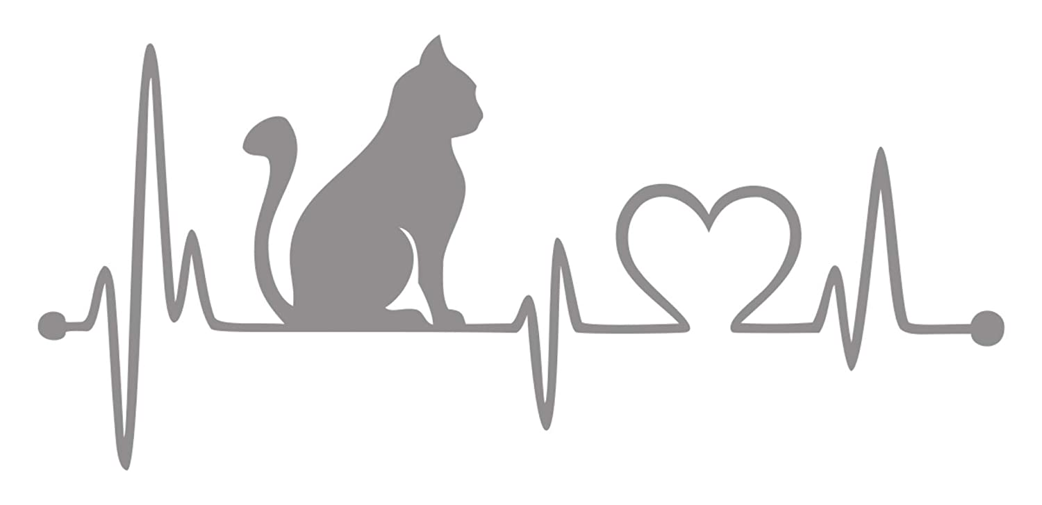 White, 7 7 Bluegrass Decals Cat Heartbeat Lifeline Love Decal Sticker.