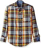 Nautica Boys' Little Lookout Plaid Long Sleeve Woven Shirt, Sport Navy, Large/7