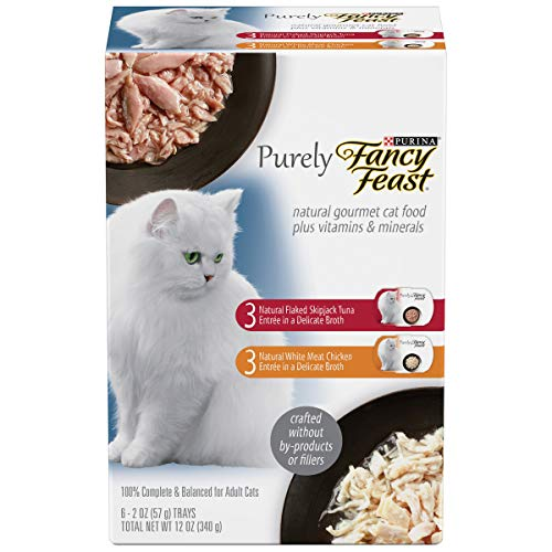 Fancy Feast Purely Adult Cat Food Trays Variety Pack, 6-2oz