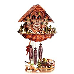 mygermanstore Original Eight Day Movement Cuckoo Clock with Moving Train, Mill Wheel and Wood Chopper 15.5x18 Inch