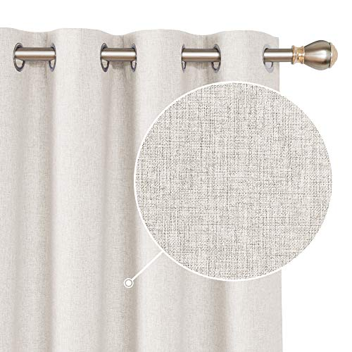 Deconovo Faux Linen Total Blackout Curtains Grommet Room Darkening Thermal Insulated Curtain Sun Blocking Drapes for Window Khaki 52x45 Inch 2 Panels (Total Curtains Blackout)