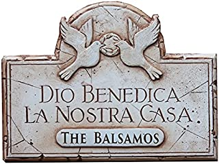 product image for Piazza Pisano God Bless Our Home Sign in Italian Personalized with a Name