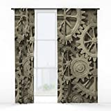 Society6 Steampunk Cogwheels Window Curtains Double Panel