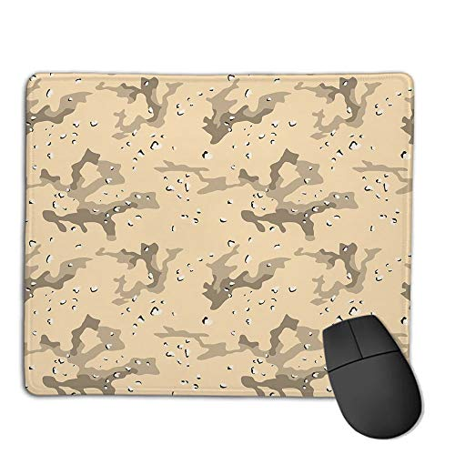 (Mouse Pad Bundle Stitched Edges Premium Waterproof Mouse Mat Pad,Camo,US Armed Forces Background Hiding in The Desert Theme Design,Light Orange Sage Green Army Green,Consoles More Enjoy Precise &)