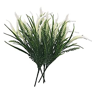 Artificial Flowers 4pcs Faux Plastic Plants Shrubs Simulation Greenery for Wedding Garden Farmhouse Outdoor Decor (4 Bunches White) 4