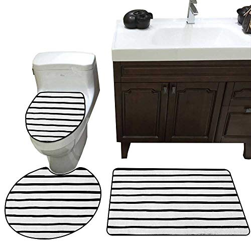 (Modern Custom Toilet Seat Cover Abstract Minimalist Horizontal Paintbrush Stripes Bands Simplistic Artful Design Toilet Bath Mats Rugs Charcoal Grey)