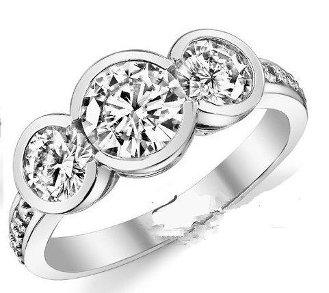 GOWE Solid Gold Ring 1.5 Carat Brilliant Semi-Bezel 3-Stone ASCD Lab Grown Diamond Solid 9K Gold Wedding Ring Diamond Wedding Set 3 Stone Semi Bezel