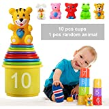 Stacking Up Cups, Early Educational Toddlers Toy Bathtub Toys with Numbers & Animals Game For Kids Xmas Gifts by Shellvcase (11 Pack)