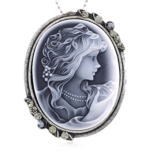 Light Gray Cameo Pendant Necklace Charm Fashion Jewelry for Women (Necklace Lady Pendant Cameo)