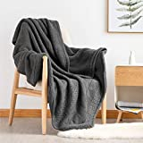 Bedsure Knitted Sherpa Throw Blanket for Sofa and Couch - Soft & Cozy Knit-Sherpa Bedding Blanket - Grey, 50 x 60 inches