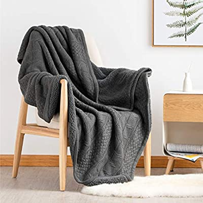 "Bedsure Knitted Sherpa Throw Blanket for Sofa and Couch - Soft & Cozy Knit-Sherpa Bedding Blanket - Grey, 50 x 60 inches - CHIC KNITTED PATTERN: A classic knit design that reverses to a fluffy sherpa lining is perfect for keeping you snug and warm, like your favorite fall sweater - Featuring an exquisite stitching craft, Bedsure Knitted Sherpa throw blanket adds ultimate luxury to your living room - Tranquil color palette blends nicely into any contemporary design space. VARIOUS BLANKET FEATURES: Knitted Throw Blanket measured by 50""x60"" is perfect for you to wrap yourself in irresistible softness and snug warmth with the seasons - Tuck in our super soft bed blanket between comforter and sheet to create a special, extra pocket of comfort. VERSATILE SCENARIOS: Surround yourself with knitted sherpa throw blankets while watching TV series with a mug of hot chocolate on couch, especially on chilly nights - As a perfect companion when having a comfy nap in your work with our super cozy blanket - A must-have for camping or picnic in humid weather while enjoying happy hours. - blankets-throws, bedroom-sheets-comforters, bedroom - 51bRqO1zJJL. SS400  -"