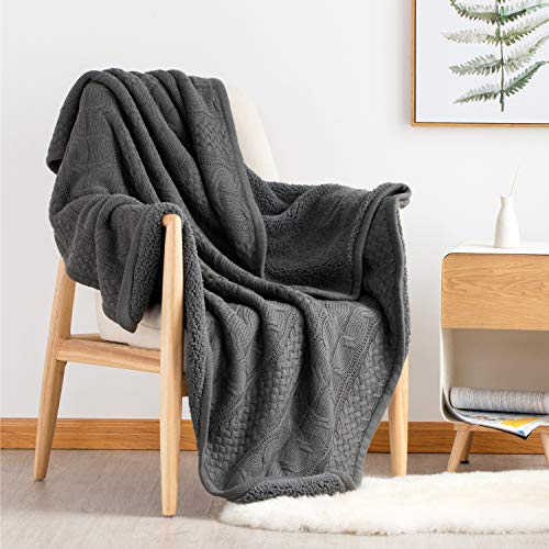 (Bedsure Knitted Sherpa Throw Blanket for Sofa and Couch - Soft & Cozy Knit-Sherpa Bedding Blanket - Grey, 50 x 60 inches)