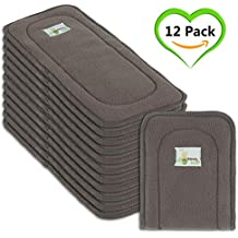 Naturally Natures Cloth Diaper Inserts 5 Layer Charcoal Bamboo Reusable Liners - insert - for Cloth Diapers (Pack of 12) (Grey) liner