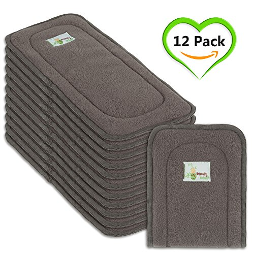 Charcoal Inserts (Naturally Natures Cloth Diaper Inserts 5 Layer Charcoal Bamboo Reusable Liners - insert - for Cloth Diapers (Pack of 12) (Grey) liner)