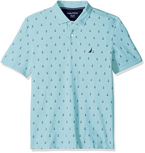 (Nautica Men's Classic Short Sleeve Solid Polo Shirt, Harbor Mist, XX-Large)