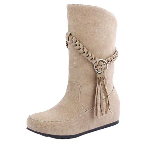 AicciAizzi Mujer Sin Cordones Botas Media Pierna Flecos: Amazon.es: Zapatos y complementos