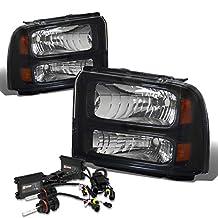 Ford Super Duty Headlight (Black Housing Amber Reflector)+10000K HID+Slim Ballasts - 1st Gen