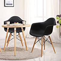 Charles & Ray Eames Modern Armchair Side Chair with Wooden Legs, Reception Seat (Pair)