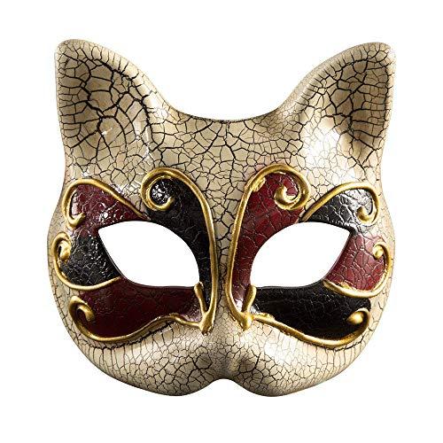 BLEVET Venetian Masquerade Masks Cat Face Mask Halloween Costume Mardi Gras Party Ball Eye Mask BK004 (Red) -