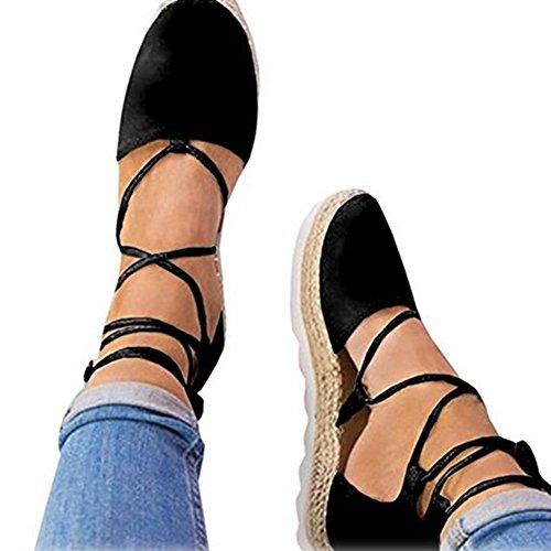 Plat Chaussures Up Style Été Femme Mode Daim Sandales à Plateforme Espadrilles Noir Décontractée Minetom Lace Sandales qwt1gxx7