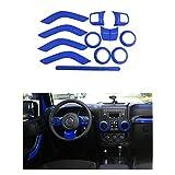 Opall Full Set Interior Decoration Trim Kit Steering Wheel & Center Console Air Outlet Trim, Door Handle Cover Inner, Passenger Seat Handle Trim For Jeep Wrangler JK JKU 2011-2017 4 Door (Blue 12PCS)