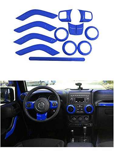 Opall Full Set Interior Decoration Trim Kit Steering Wheel & Center Console Air Outlet Trim, Door Handle Cover Inner, Passenger Seat Handle Trim For Jeep Wrangler JK JKU 2011-2017 4 Door (Blue 12PCS)