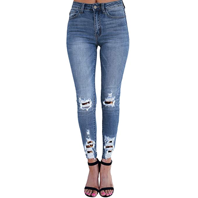 Fandecie Mujer Pantalones Estiramiento Leopard Denim ...