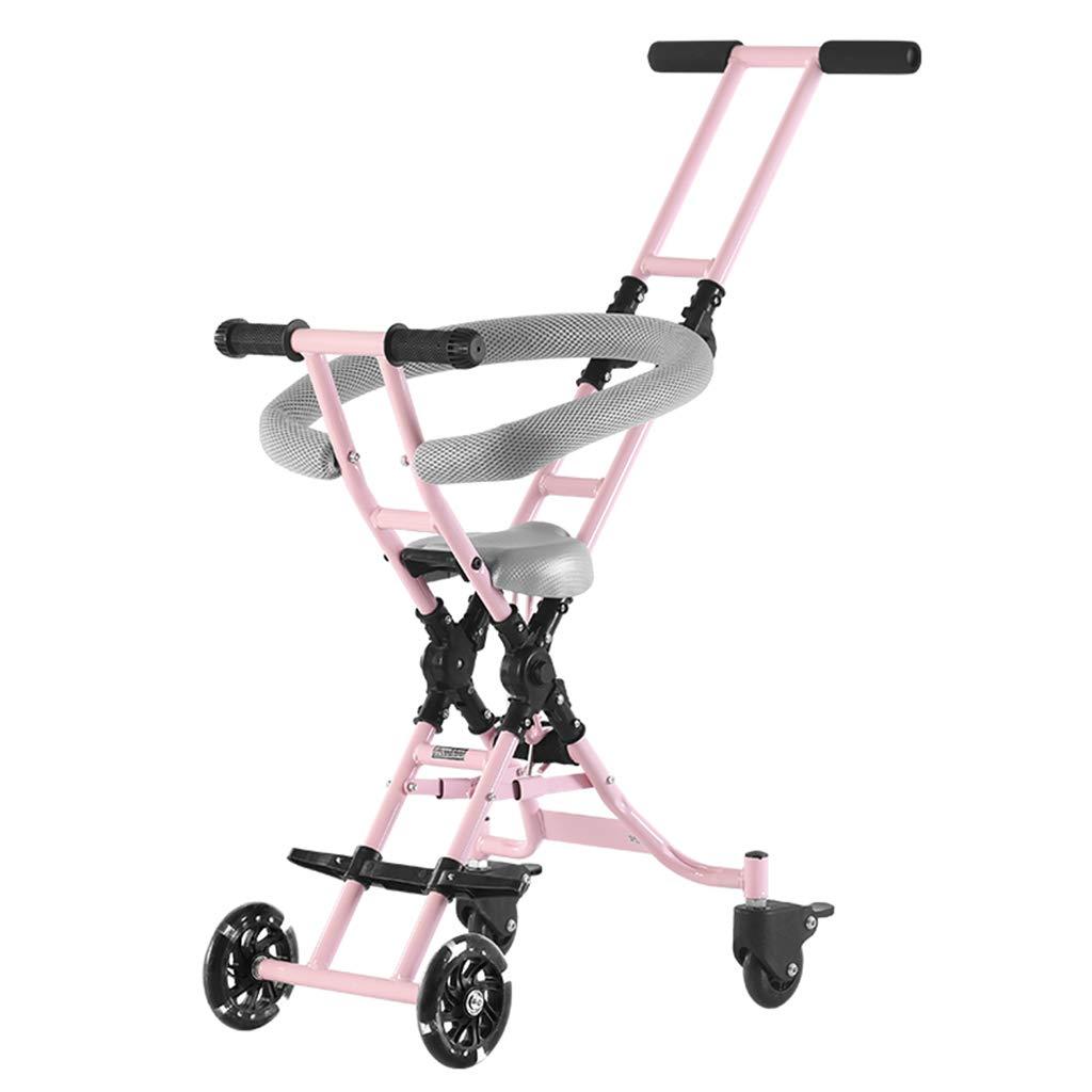 Baby Four-Wheeled Shatter-Resistant Lightweight Folding Children's Trolley Trend Adventure Travel System Range Aviation Aluminum Pink 6.30