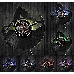 Gddyzs Illuminated LED Vinyl Wall Clock Parrots on Branch Vinyl Record Clock Parrot Couple Aviary Wall Decor Art Clock Birds Wall Clock Watch Bird for Animals Lovers