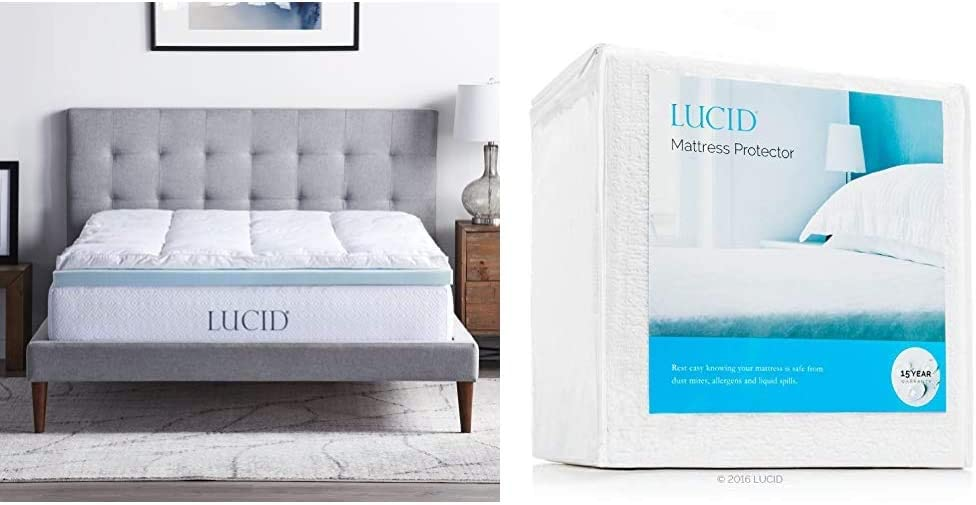 LUCID 4 Inch Down Alternative and Gel Memory Foam Mattress Topper - Three Toppers in One - Queen & Premium Hypoallergenic 100% Waterproof Mattress Protector - Universal Fit, Cotton Terry Top, Queen