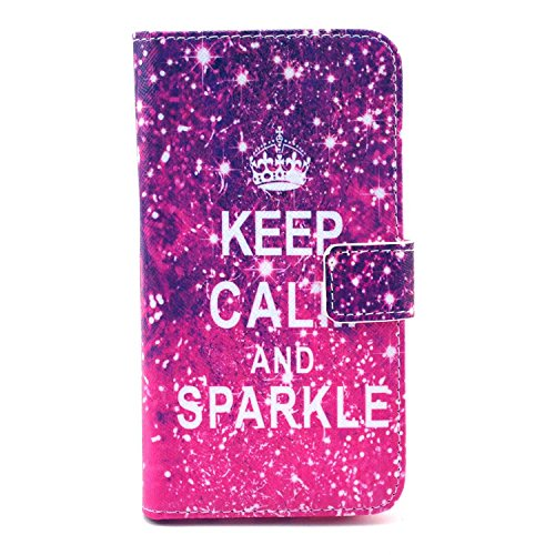 S6 Case, Galaxy S6 Case,Nancy's Shop **New** Fashion [Kickstand Feature] Sparkle Pattern Premium Pu Leather[Wallet Feature] Type Magnet Design Flip Protective Credit Card Holder Pouch Skin Case Cover for Samsung Galaxy S 6 2015 Smartphone (Built-in Credit Card/id Card Slot) and Screen Protector By Free (Galaxy Outer Space Keep Calm and Sparkle)
