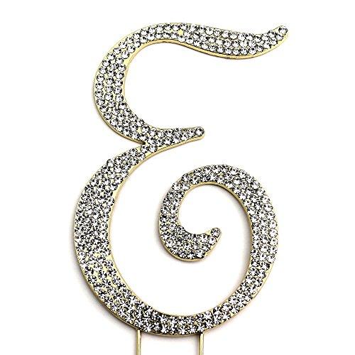 Sparkly Rhinestones Letter E Cake Topper, Birthday Wedding Anniversary Gold Initial E