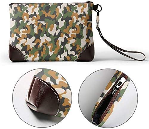 BFDX Camouflage Militaire Abstrait en Cuir Wristlet Embrayage Sacs À Main Sac Bandoulière Embrayage Portefeuille Sacs À Main pour Femmes