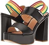 Love Moschino Women's Rainbow Strap Chunky Heels Black Shoe