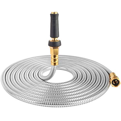 (25' 304 Stainless Steel Garden Hose, Lightweight Metal Hose with Free Nozzle, Guaranteed Flexible and Kink Free)