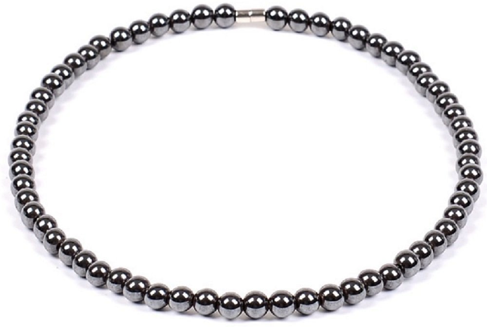 Drkao Full Energy Therapy Magnetic Hematite with Round Beads Necklace Magnetic Necklace Magnetic Therapy Necklace Pain Relief