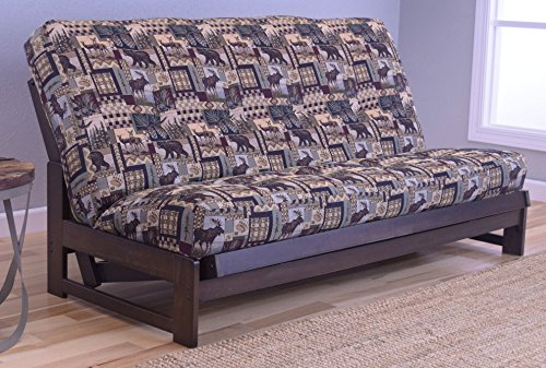 Price comparison product image Colorado Reclaim Mocha Frame and Mattress Set w / Choice of Fabrics,  7 Inch Innerspring Futon Sofa Bed Full Size Aspen Style (Frame w / Pete's Cabin)