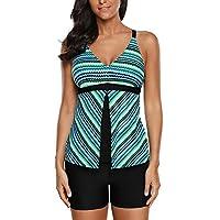 Hainter Swimsuits for Women New Greenish Fish Scale Print Tankini and Short Set Women Striped Print Swimsuit Two-Piece Beach Bikini Swimsuit