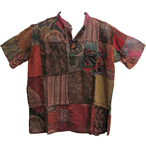 Men's Indian Vintage Bohemian Hippie Patchwork Short-Sleeved Shirt (Small/Medium) ()